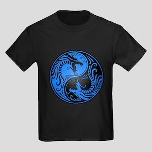 Blue and Black Yin Yang Dragons T-Shirt