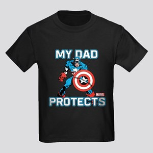 My Dad Protects:Captain America Kids Dark T-Shirt