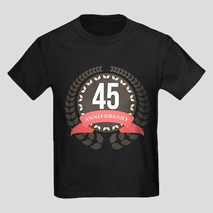 45Years Anniversary Laurel Badge Kids Dark T-Shirt