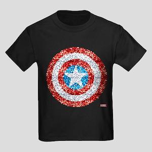 Captain America Pixel Shield Kids Dark T-Shirt