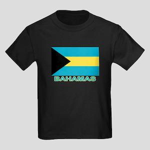 Bahamian Flag (labeled) Kids Dark T-Shirt