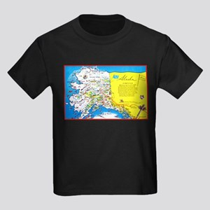 Alaska Map Greetings Kids Dark T-Shirt
