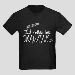 I'd Rather Be Drawing Kids Dark T-Shirt