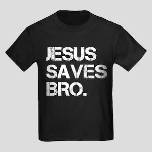 Jesus Saves Bro. Kids Dark T-Shirt