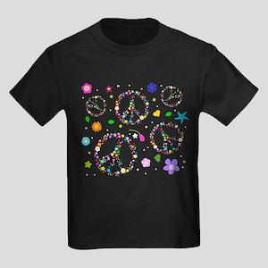 Peace symbols and flowers pat Kids Dark T-Shirt