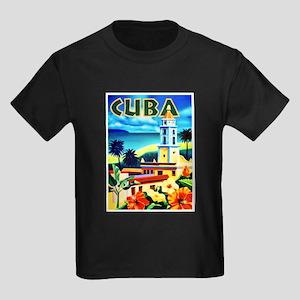 Cuba Travel Poster 6 Kids Dark T-Shirt