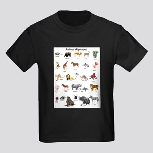 Animal pictures alphabet Kids Dark T-Shirt