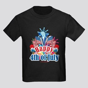 Happy 4th of July Kids Dark T-Shirt