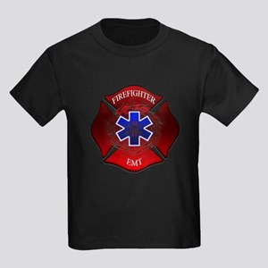 FIREFIGHTER-EMT Kids Dark T-Shirt