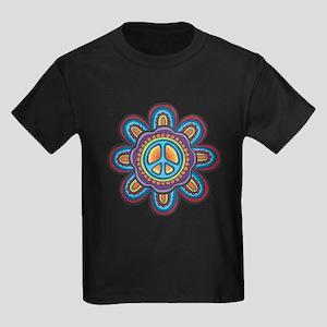 Hippie Peace Flower Kids Dark T-Shirt