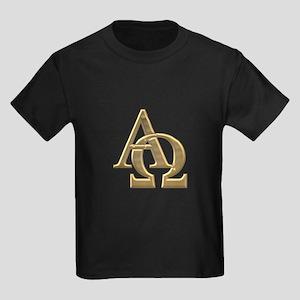 """""""3-D"""" Golden Alpha and Omega Symbol Kids Dark T-Sh"""