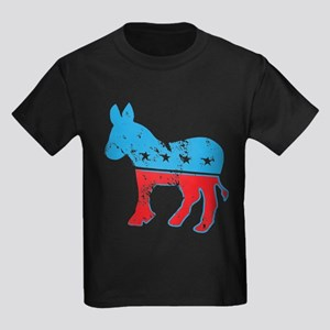 Democrat Donkey (Grunge Texture) Kids Dark T-Shirt