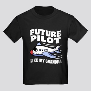 Future Pilot Like My Grandpa Kids Dark T-Shirt
