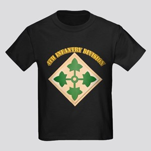 SSI - 4th Infantry Division with text Kids Dark T-