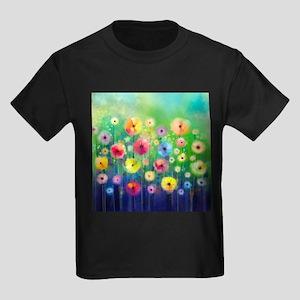 Watercolor Flowers Kids Dark T-Shirt