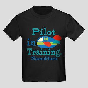 Personalized Pilot in Training Kids Dark T-Shirt