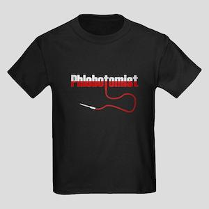 Phlebotomist with Needle Logo Kids Dark T-Shirt