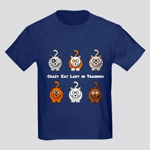 Crazy Cat Lady In Training Kids Dark T-Shirt
