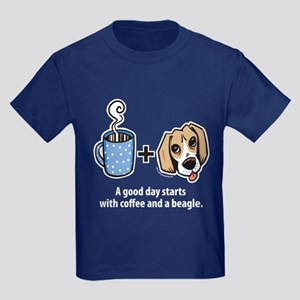 Coffee and a beagle Kids Dark T-Shirt
