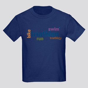 Triathlon Text - Blue Kids Dark T-Shirt