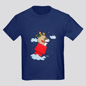 Flying Ace Santa Kids Dark T-Shirt