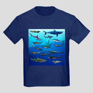 Shark Gathering Kids Dark T-Shirt