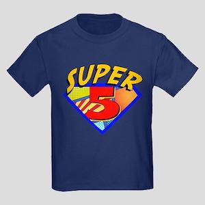6a4739a0e Superhero 5 Birthday Kids Dark T-Shirt