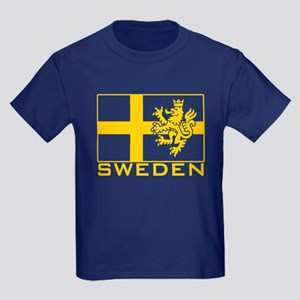 Sweden Flag Kids Dark T-Shirt