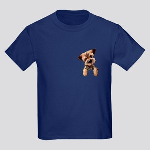 Pocket Border Terrier Kids Dark T-Shirt