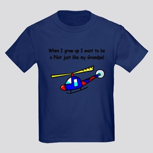Helicopter Pilot Grandpa Kids Dark T-Shirt