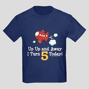 5th Birthday Airplane Kids Dark T-Shirt