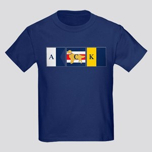Preppy Dog Golden ACK Signal Fla Kids Dark T-Shirt