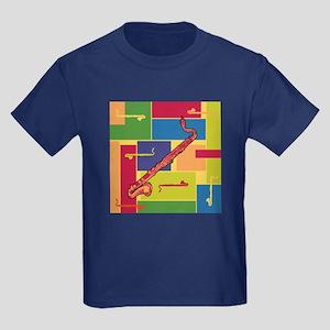 Bass Clarinet Colorblocks Kids Dark T-Shirt