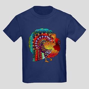 Thanksgiving Jeweled Turkey Kids Dark T-Shirt