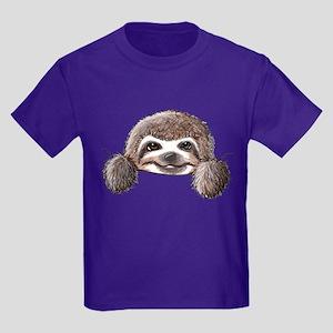 KiniArt Pocket Sloth Kids Dark T-Shirt