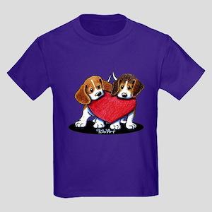 Beagle Heartfelt Duo Kids Dark T-Shirt