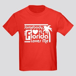 Somebody In Florida Loves Me Kids Dark T-Shirt