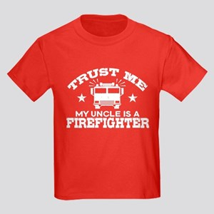 Trust Me My Uncle is a Firefight Kids Dark T-Shirt