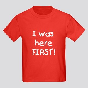 I Was Here First Kids Dark T-Shirt