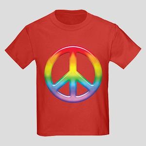 Gay Pride Rainbow Peace Symbol Kids Dark T-Shirt