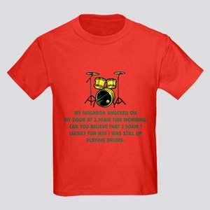 Still Up Playing Drums Kids Dark T-Shirt