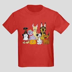 Cartoon Dog Pack Kids Dark T-Shirt