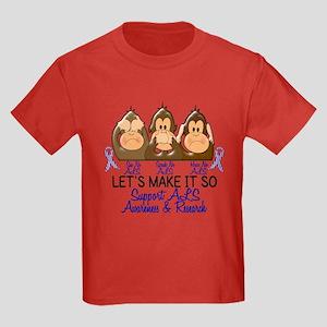 See Speak Hear No ALS 2 Kids Dark T-Shirt