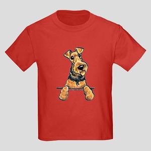 Welsh Terrier Paws Up Kids Dark T-Shirt
