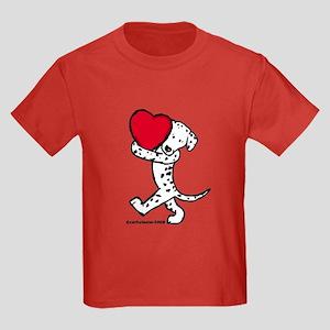 Dalmatian Valentine Kids Dark T-Shirt
