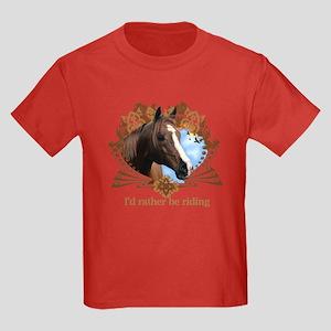 I'd Rather Be Riding Horses Kids Dark T-Shirt