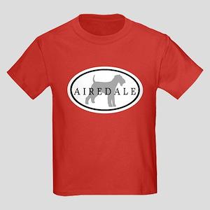 Airedale Terrier Oval #3 Kids Dark T-Shirt