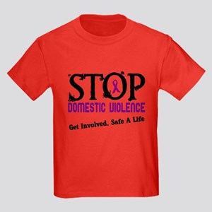 Stop Domestic Violence 2 Kids Dark T-Shirt