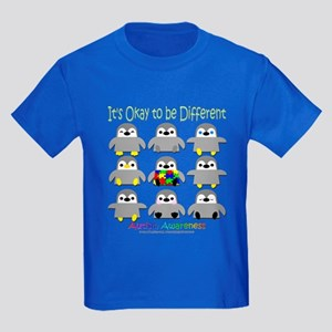 Autism Awareness Penguins Kids Dark T-Shirt