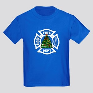 Firefighter Christmas Tree Kids Dark T-Shirt